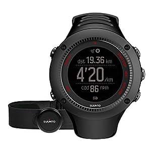 Suunto AMBIT3 RUN HR SS021257000 Orologio GPS Unisex pensato per i runner Fino a 15 Ore di Durata della Batteria, Monitoraggio Frequenza Cardiaca + Fascia Cardio (Taglia M), Resistente all'Acqua fino a 50 m, Nero