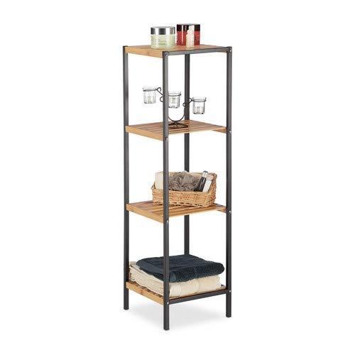 Relaxdays, Natur Regal Bambus, universales Standregal, 4 Ablagen, Metall-Rahmen, quadratisch, HxBxT: 104 x 30 x 30 cm, 4 Ebenen