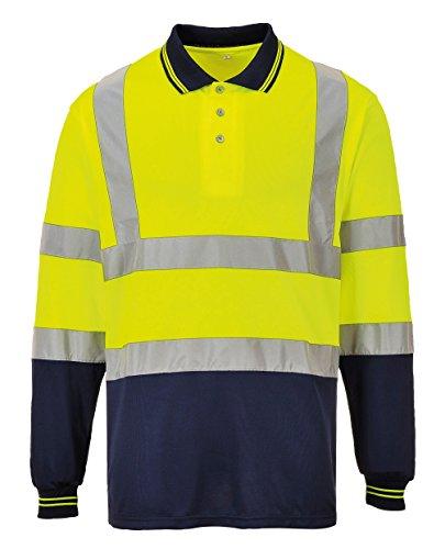 Portwest Hivis Twotone Langarm Polo Shirt - Yellow / Navy - 2XL -