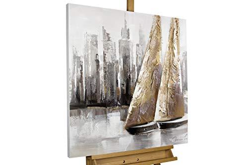 KunstLoft® Acryl Gemälde 'Mit dir um die Welt' 80x80cm   original handgemalte Leinwand Bilder XXL   Segelboote vor Skyline auf Weiß Grau   Wandbild Acrylbild einteilig mit Rahmen - , Original Gemälde