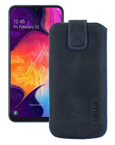 Suncase Etui Tasche kompatibel mit Samsung Galaxy A50 mit ZUSÄTZLICHER Hülle/Schale/Bumper/Silikon *Lasche mit Rückzugfunktion* Handytasche Ledertasche Schutzhülle Case in Pebble-Blue