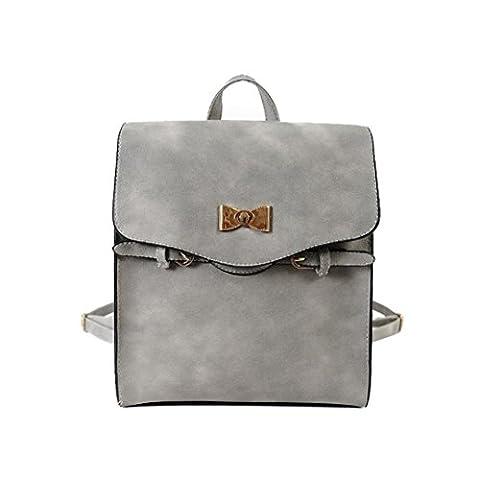 Kingko® New Women's Fashion Drawnstring Leather Satchel Cross Body Shoulder Messenger Handbag Shopping Bag (Gray)