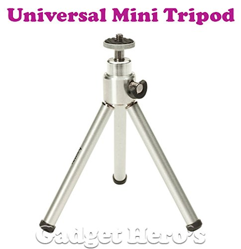 Gadget-Heros-Universal-Mini-14-Tripod-With-360-Rotating-Tilting-Head-Extendable-Legs-Silver-For-Digital-Cameras-DSLR-Camcorder-GoPro-Cameras-Phones-With-Tripod-Mount