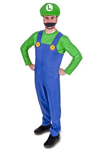 Kostüm Luigi Männer - Super Klempner Brüder Erwachsene Kostüm (Herrengröße: X-Groß, Grün)