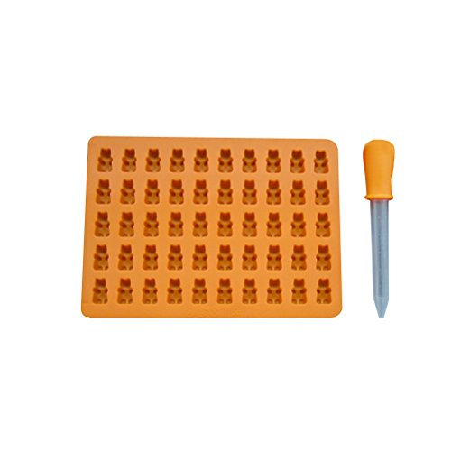 LIOOBO Silikon Candy Mold 50 Gitter Bär Form mit Pipette für DIY Candy Jelly Cookie Schokolade Eiswürfel (Orange) Jello Cookies
