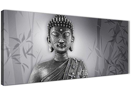 Blanco Negro Buda Salón cuadros lienzo accesorios-1373-120cm