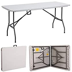 Gr8 Garden New Compact Foldable 6ft Heavy Duty Folding Catering Camping Trestle Picnic Garden Patio Bbq Party Table