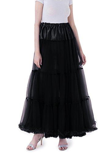 Tsygirls 1950's Vintage Petticoat Reifrock Unter Rock Unterrock Röcke Underskirt Crinoline Swing Oktoberfest Kleid Schwarz (1950 Halloween Kostüm Ideen)
