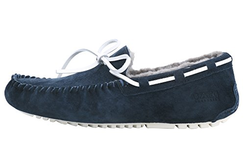 OZZEG Cuir basane flâneurs occasionnels mocassins Slip nouveaux hommes sur la conduite des chaussures Bleu Marine