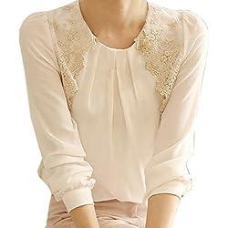 Malloom Mujeres dama Vintage largo manga tapas transparentes de encaje camisa blusa de Gasa (XL)
