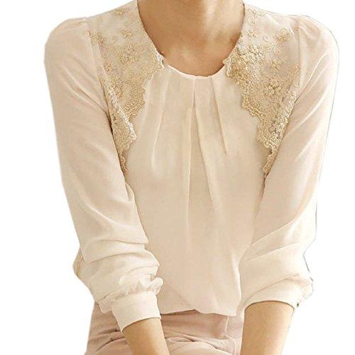Malloom Mujeres dama Vintage largo manga tapas transparentes de encaje camisa blusa de Gasa (M)