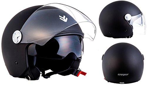 "ARMOR · AV-63 ""Matt Black"" (Schwarz) Motorrad-Helm Mofa Scooter-Helm Chopper  Click-n-Secure Clip · Tragetasche · M (57-58cm)"