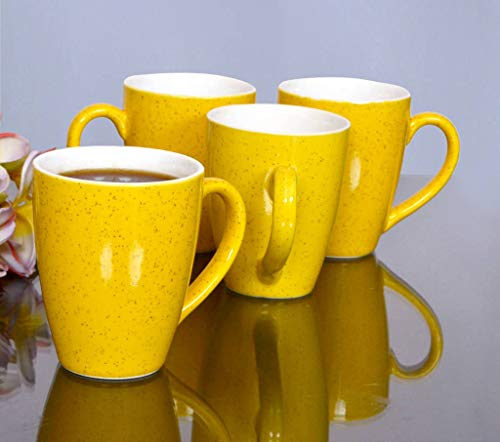 KITTENS Large Coffee Mugs, Speckled Yellow, Set of 4