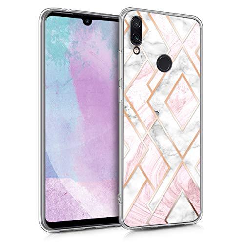 kwmobile Funda para Xiaomi Redmi Note 7 / Note 7 Pro - Carcasa de TPU para móvil y diseño de mármol y Oro en Oro Rosa/Blanco/Rosa Palo