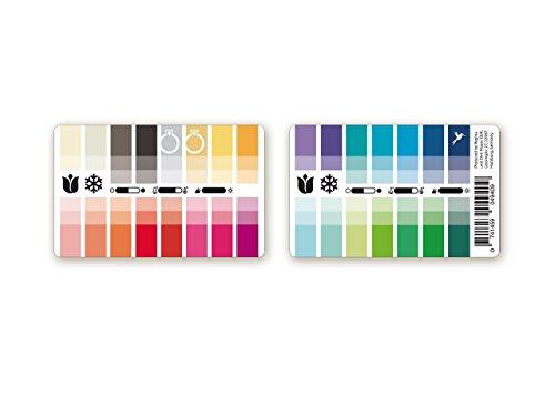 Handlicher Karten-Farbpass Frühling-Winter (Clear Spring) aus Plastik mit 30 typgerechten Farben zur Farbanalyse, Farbberatung, Stilberatung