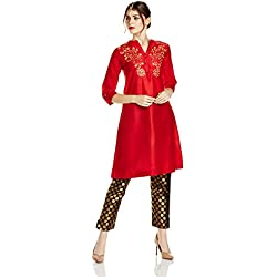Myx Women's Embroidered A-Line Kurta (AW17MGFST04A_Red_Small)