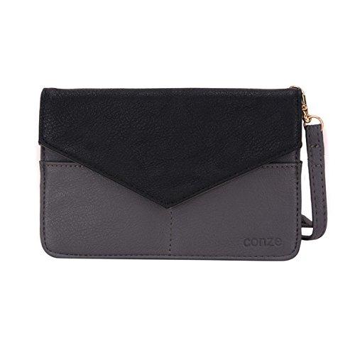 Conze da donna portafoglio tutto borsa con spallacci per Smart Phone per Celkon A35K Remote/A359/A355 Grigio Grey Grey