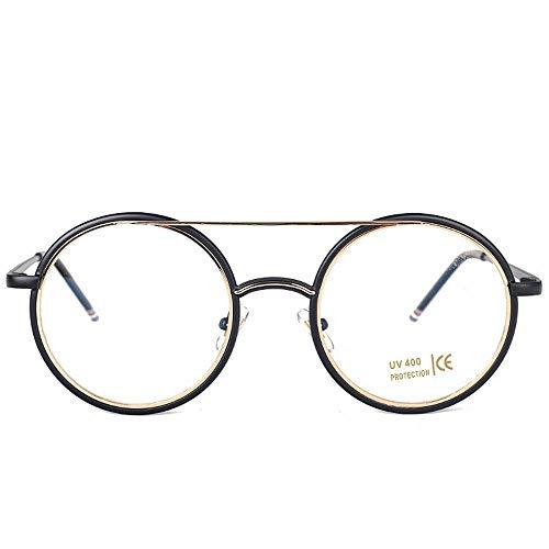 WULE-RYP Polarisierte Sonnenbrille mit UV-Schutz Mädchen-Metallrunde Myopie-Brillen-Rahmen-Flacher Spiegel mit klaren Linsen-Brillen. Superleichtes Rahmen-Fischen, das Golf fährt (Farbe : Black/Gold)