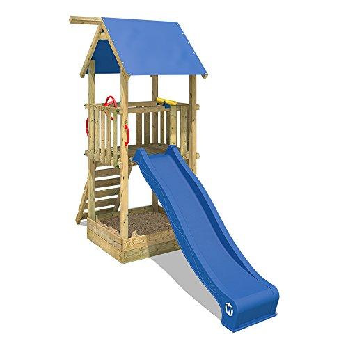 WICKEY Spielturm Smart Tale Spielhaus Kletterturm mit Rutsche, Sandkasten und Kletterleiter, blau