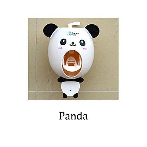 Bebé dispensadores de cepillo de dientes, los niños Manos libres dispensador de dientes BigNoseDeer niños dibujos animados automático linda animal dentífricos exprimidor buen regalo (Panda)