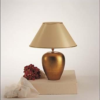 néerlandais Lampe de table 1ampoule. DELTA ovale Céramique blattvergoldet–Écran Vernis Beige/Doré