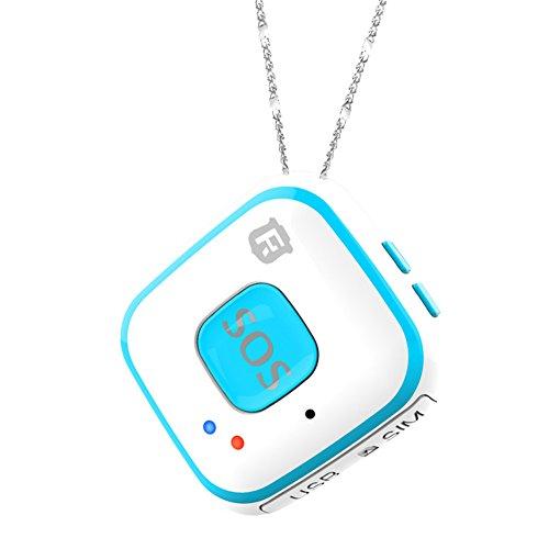 Collana con dispositivo di tracciamento e localizzazione GPS per anziani e bambini, con sistema di allarme e SOS integrato, con antenna per tracciamento in tempo reale, Wi-Fi, RF-V28, Blue