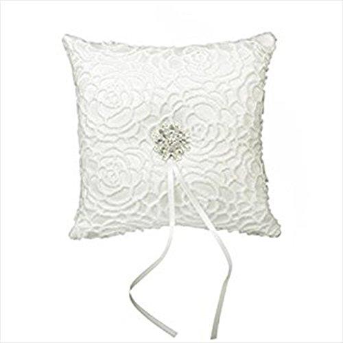 Jooks Coussin romantique pour bague de mariage orné de strass avec fleur élégante, motif Blanc ivoire (15 x 15 cm)