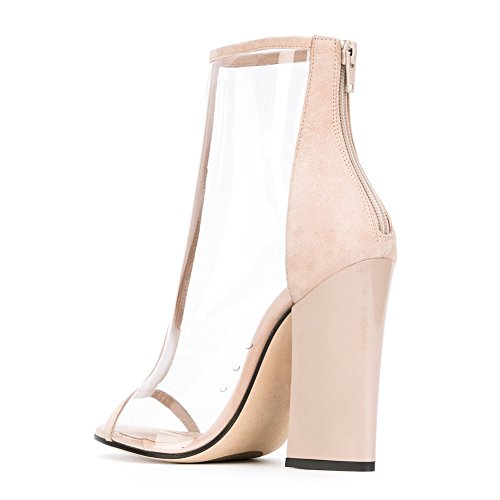 Damen Peep Toe Fellsamt Transparent Sandalen High-Heels Blockabsatz Reißverschluss Nude