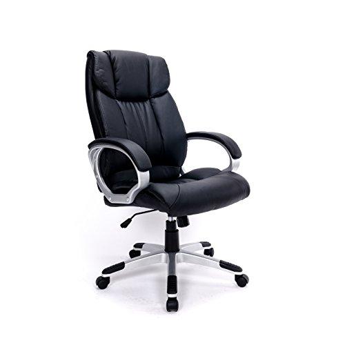 Ergonomischer Bürostuhl dick gepolstert, Kunstleder schwarz - Chefsessel hohe Rückenlehne höhenverstellbar mit Armlehnen