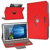 UC-Express Robuste Schutzhülle für Ihr Archos Core 101 3G Tablet aus Kunstleder mit Standfunktion 360° Drehbar Hülle Schutztasche Ständer Tasche Cover Case Etui, Farbe:Rot