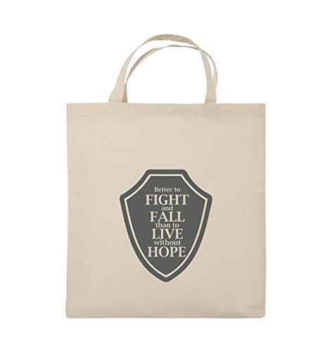 Comedy Bags - Better to fight and fall than to live wihtout hope - Jutebeutel - kurze Henkel - 38x42cm - Farbe: Schwarz / Pink Natural / Grau