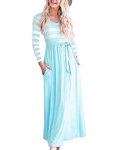 Damen Kleider Herbst Langarm Basic Kleid A-Linie Kleid mit Gestreift O-Ausschnitt Maxi Beiläufige Sommerkleider mit Gürtel