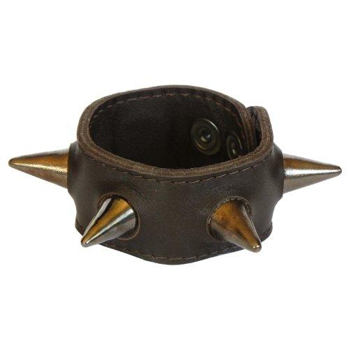 braunes Leder Armband mit dunkelgoldenen Nieten, aber aus echter Keramik Rock Lesezeichen