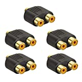 VCE 5 Stück Cinch Y-Adapter Chinch Buchse auf 2X Chinch Buchse Kupplung Chinch Y-Splitter Adapter