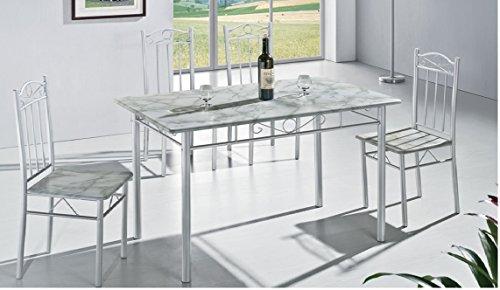 Moderne Marmor Look weiß Küche Esstisch mit 4Stühlen 5Stück (RRP £ 99,99)