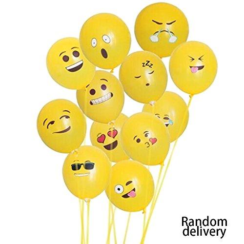 Goolsky Emoji Balloons, Ojos Grandes Impresos Lindos Emoji Cara Sonriente Globos de Látex para Fiesta de Cumpleaños o Decoración de Vacaciones Estilo 1 Paquete DE 10 Amarillo(Emoji Balloons al Azar)