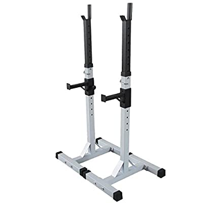 MASCARELLO® Heavy Duty Gym Squat Barbell Power Rack Stand Adjustable Press Weight Bench (White) from MASCARELLO