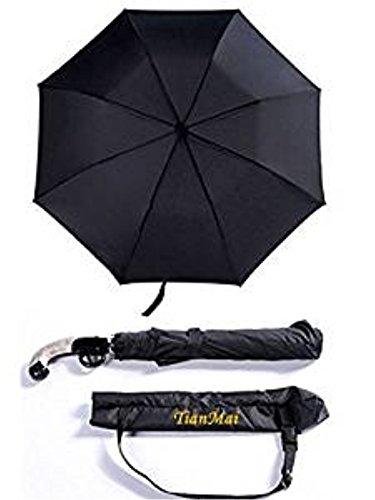 Reise Regenschirm Falten Wasserdicht & Winddicht Regenschirme Auto Öffnen 8 Rippen Automatisch Winddicht Überdachung Kompakt mit Licht Reflektierend
