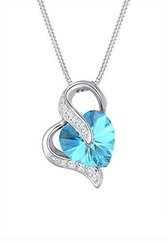 Elli Damen-Kette mit Anhänger Herz Liebe 925 Silber Swarovski Kristall blau 45 cm