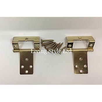8x 50mm Brass Semi Concealed Double Cranked Flush Cabinet Hinge Door