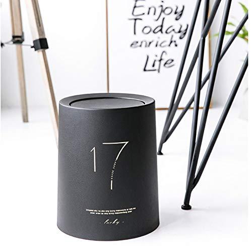 FTLY Nordic Light Luxury Umwelt Mülleimer Kreative Einfache Runde Fass Doppel Große Abdeckung Papierkorb Papierkorb Hause Wohnzimmer Schlafzimmer Badezimmer Licht Touch Flip Abfallbehälter