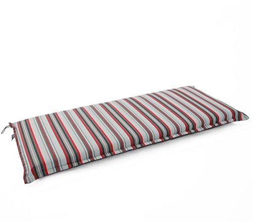 Hambiente 2 Sitzer Bank Auflage ca. 125 x 50cm Waschbar mit Reißverschluss grau-rot gestreift