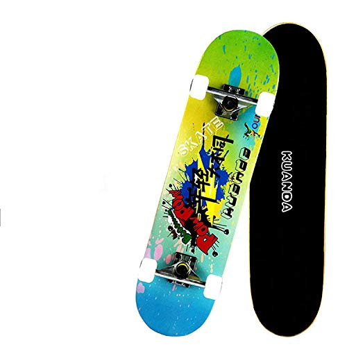 ACAMPTAR Retro Style Professional, Teen Adult Skateboard mit Vier Rädern, Double Axe Extreme Maple Skateboard-Skate Schuhe -