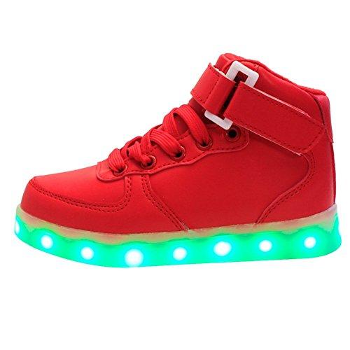 iBaste Kinderschuhe LED Sportschuhe Kinder USB Aufladen 7 Lichtfarbe LED Leuchtend Sport Schuhe Kinderschuhe PU Sneaker Turnschuhe für Kinder Jungen Mädchen Rot