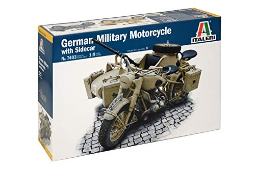 Italeri 7403 - german milit.motorcycle with  sidecar model kit  scala 1:9