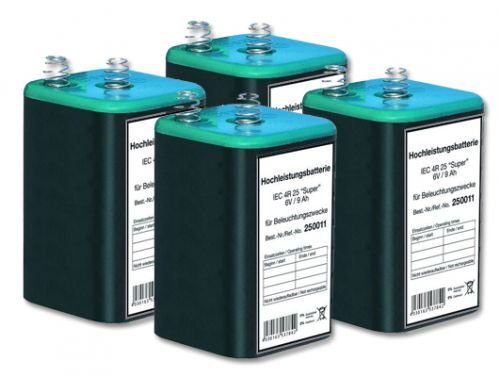 Preisvergleich Produktbild Blockbatterie 6 V- / 9 Ah IEC 4R25 - 4 Stück