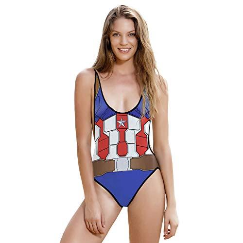 QQWE Frauen Captain America Cosplay Kostüm Kostüm Kleidung Frauen Bikinis Monokini Badeanzug Sexy Bademode Strand Badeanzug Cosplay Kleidung,A-M (Bodysuit Captain Frauen America)