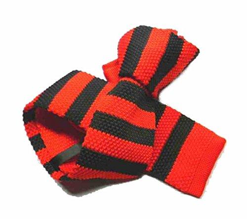 Avantgarde - Cravatta Maglia a Righe Rossa Nera Tricot Knit Tie Nero Rosso Fine Slim, Colore: Rosso