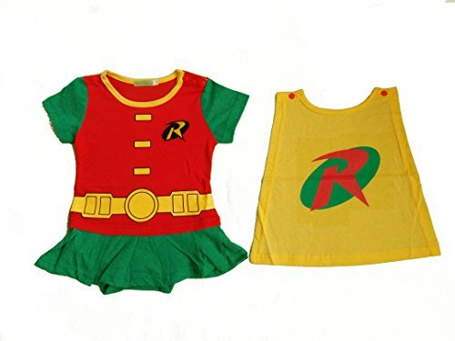 robin-inspired Infant Dress rosso Red Yellow Green 6-9 mesi