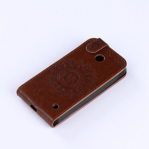Étui en cuir PU pour Nokia Microsoft Lumia 635,Vertical Pliable Rabat Shell pour Nokia Microsoft Lumia 630,Microsoft Lumia 630 635 Flip Cover,Ekakashop Etui avec Motif de Rose Rot Mandala Retro Tendan Brun